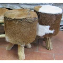 Stolička / podnožka, kůže